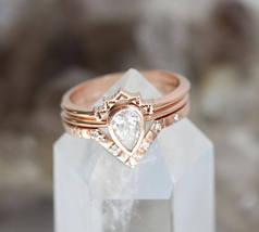 Pear D/VVS1 Diamond 3pes Engagement Bridal Ring Set 14K Rose Gold Over Silver - $124.79