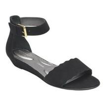 Rockport Zandra Curve Women Ankle Strap Low Wedge Sandals Black Suede - $34.00