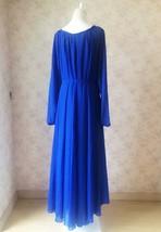 COBALT BLUE Plus Size Long Chiffon dress Gowns Prom Dress Long Sleeve Dresses image 2