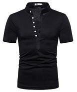 Mens Black Button Shirts - Casual Henleys Blouse V Neck Short Sleeve Top... - $16.88