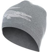 Lacoste RB3531Reversible Large Contrast Croc Jacquard Wool Beanie Stone/Silver - $49.75