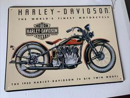Chrome Harley Sign Harley Davidson Metal Sign 1933 74 Big Twin Model Sig... - $18.81
