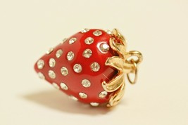 Vintage delightful rhinestone-studded strawberry pendant red 3-dimension... - $19.79