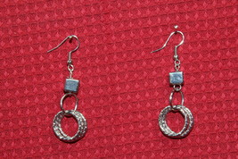 """Paparazzi Earrings (New) Silver Square w/ 3 Textured Circles 2"""" Drop - $7.61"""
