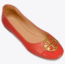 Tory Burch Women Ballet Flats Chelsea Size US 5M Poppy Orange Nappa Leather - $160.00