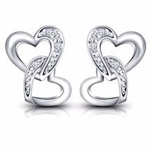 Pretty Open Heart Round Cut CZ White Gold Over 925 Sterling Silver Stud ... - $25.99