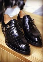 Handmade Men's Black Crocodile Texture Style Monk Strap Leather Shoes image 1