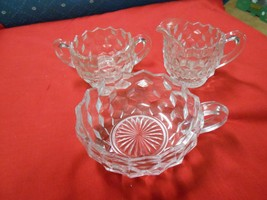 Beautiful Elegant American FOSTORIA Set of 3 Sugar & Creamer & Nappi - $15.65