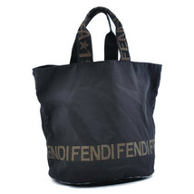 FENDI Nylon Hand Bag Black Auth 8555 - $160.00