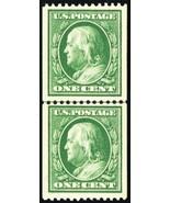 385, Mint 1¢ VF/XF OG NH Coil Line Pair With Certificate - Stuart Katz - $795.00
