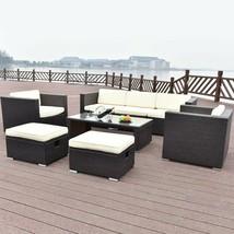 8 pc Outdoor Patio Rattan Wicker Cushioned Furniture Set Lawn Garden Deck - $752.35