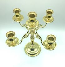 "Vintage Baldwin 11"" Solid Polished Brass 4 Arm 5 Candle Candelabra Holder USA image 4"