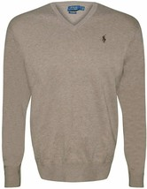 Ralph Lauren Men's Polo V-Neck Pima Cotton Pony Logo Sweater NATURAL S L... - $74.76+