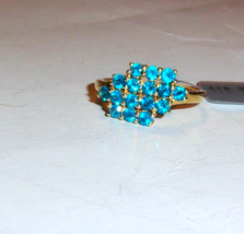 10k Yellow Gold Blue Neon Apatite Round Cluster Ring, Size 8, 1.00(TCW),... - $170.99