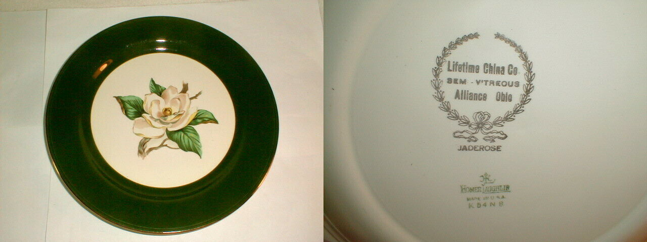 "Homer laughlin jade rose green 4pc dinner plates 10"" VG Vintage (LOT1)"