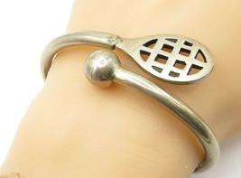 MEXICO 925 Silver - Vintage Tennis Ball & Racket Design Cuff Bracelet - B6218 image 1