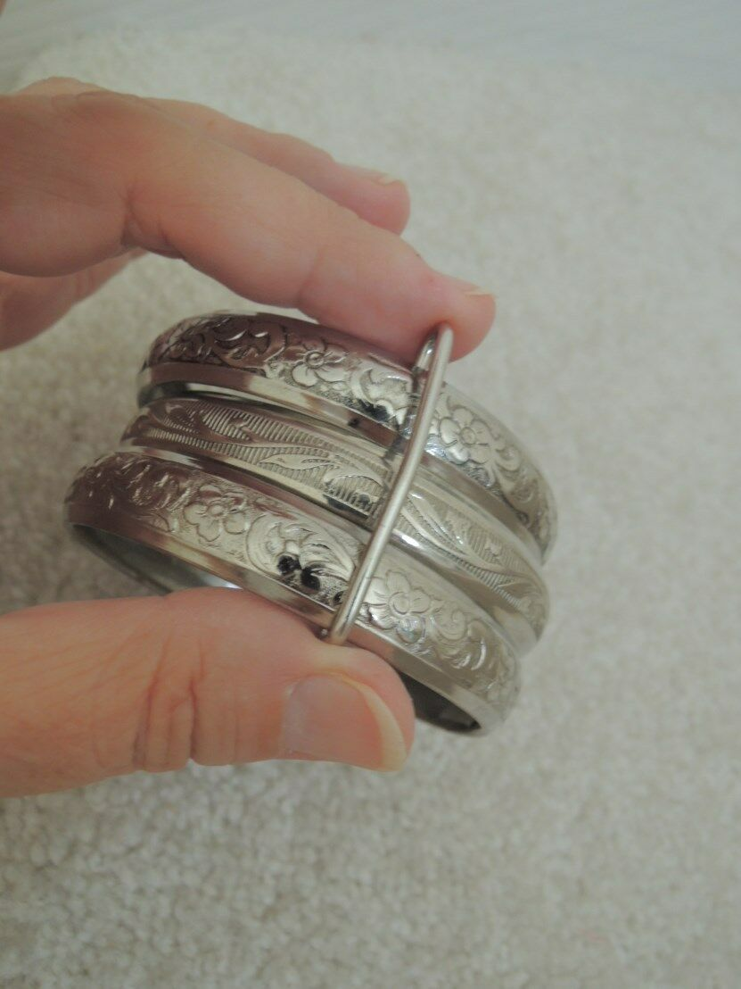 Bangle Bracelets 3 Intricate Embossed Silver Metal Costume Jewelry Bangles 1960s