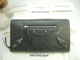 BALENCIAGA Auth Calf leather CLASSIC CONTINENTAL Zip Long Wallet Gray New - $751.99