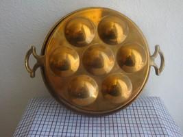 ESCARGOT Snail  Vintage Brass Tin Lined  2 handled Pan Mold  - $34.00