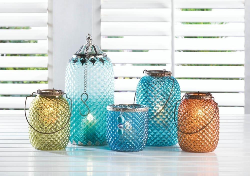 metal lantern candle, modern tabletop Green Diamond Tealight lamp candle holder