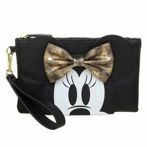 Minnie Mouse Gold Bow Clutch Purse Black - $44.98