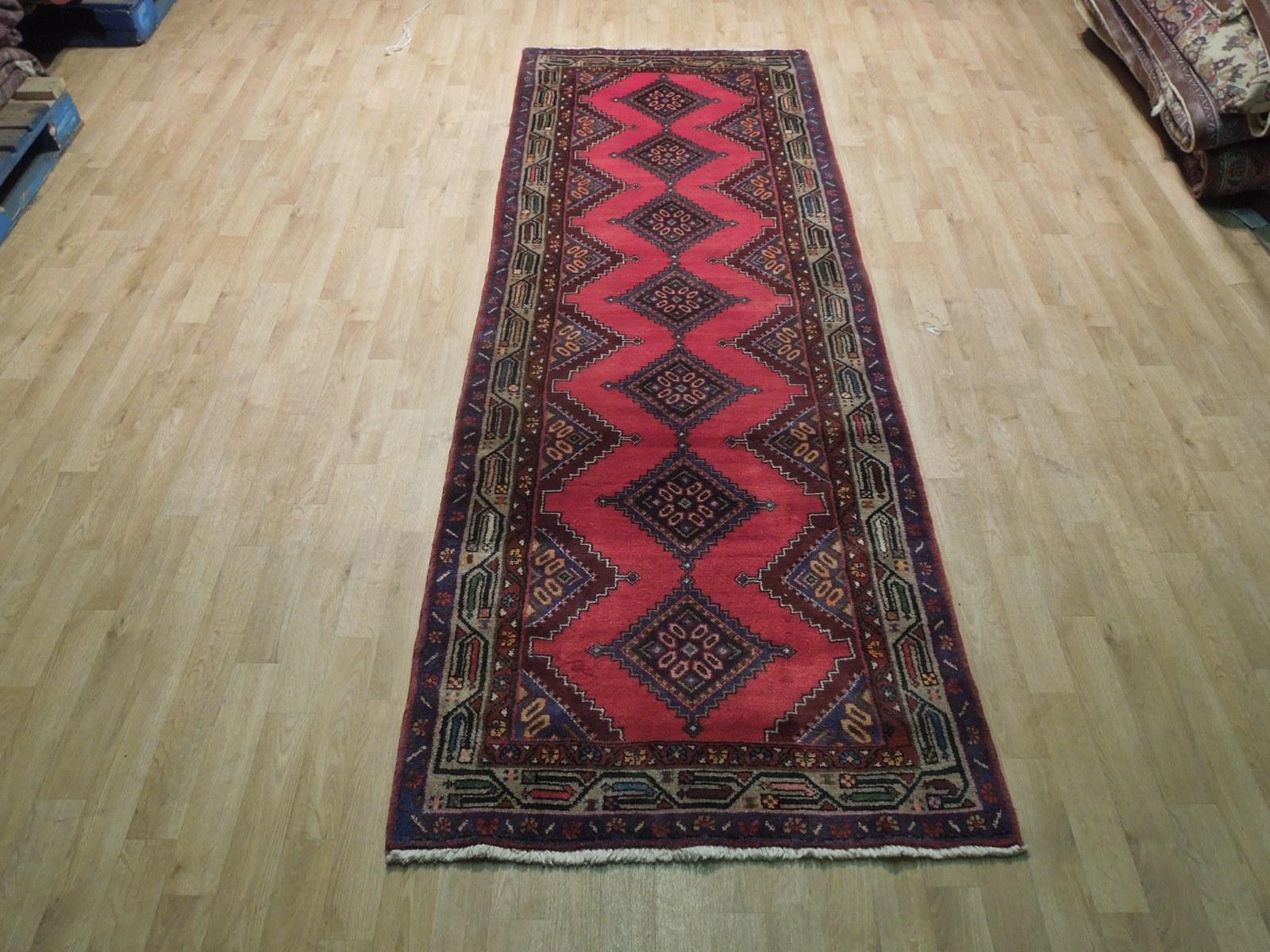 Pink Hamadan Persian Wool Handmade Rug 3x9 All-Over Geometric Rug image 4
