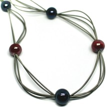 "MULTI WIRES NECKLACE RED BLUE BIG MURANO GLASS SPHERES, 90cm 35"" LONG, ITALY image 2"