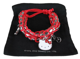 Sanrio Hello Kitty Silver Beaded Red String Rope Charm Bracelet New in Pouch image 1