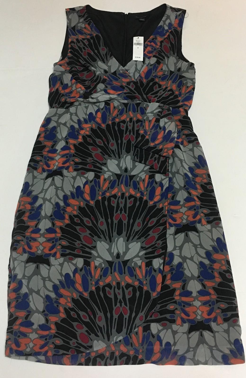 Banana Republic Summer Dress Multi-Color Coral Blue Black Sz 6 NWT