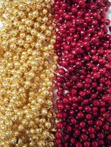 48 Red Gold 49er's Chiefs Mardi Gras Beads Football Tailgate Party Favor... - €11,66 EUR