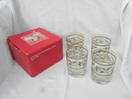4 JG Durand Home/Holidays Christmas Holly Berry Double Old Fashioned Gla... - $11.99