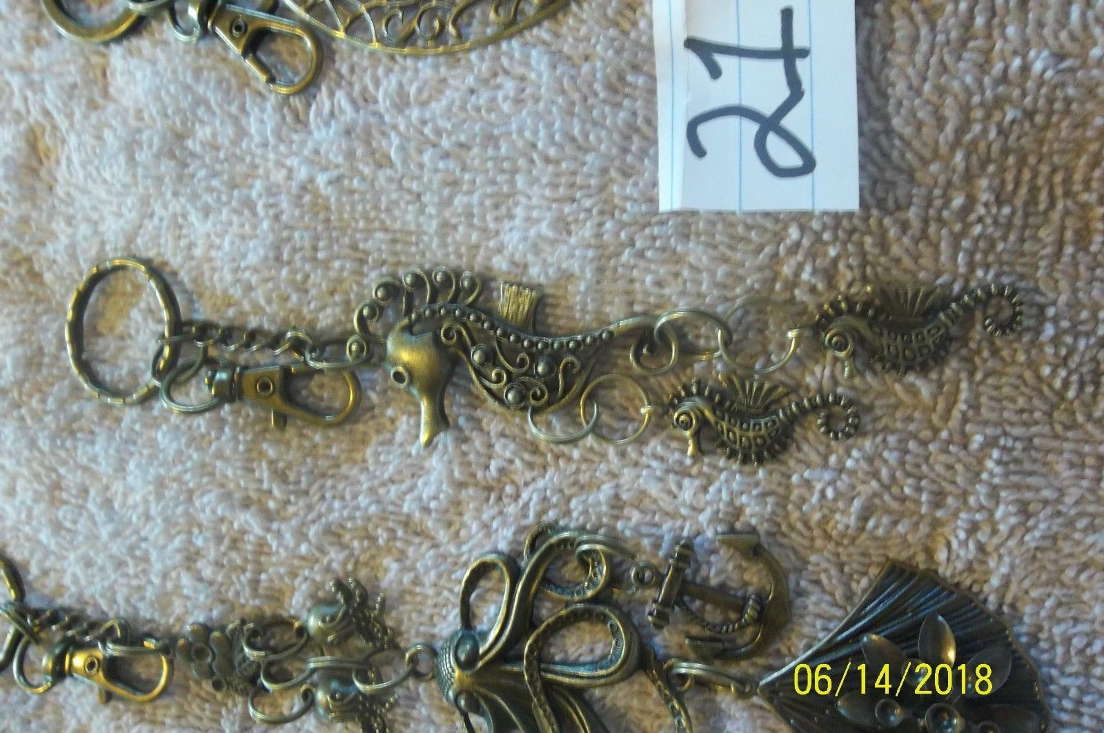 #purse jewelry bronze color keychain backpack filigree charms lot of 3 floral 21 image 4
