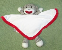 Baby Starters RED Sock Monkey Plush Rattle White Security Blanket Satin ... - $14.01