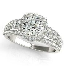 Certified 3.00Ct Round Diamond Halo Engagement Wedding Ring Set 14K Whit... - $296.78