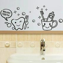 Removable Toothbrush Printed Waterproof Sticker Bathroom Wall Decal - $12.51