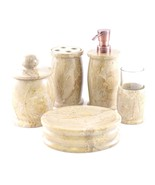 Sahara Beige Marble 5-Piece Bathroom Accessories Set of Pacific Collection - $140.02