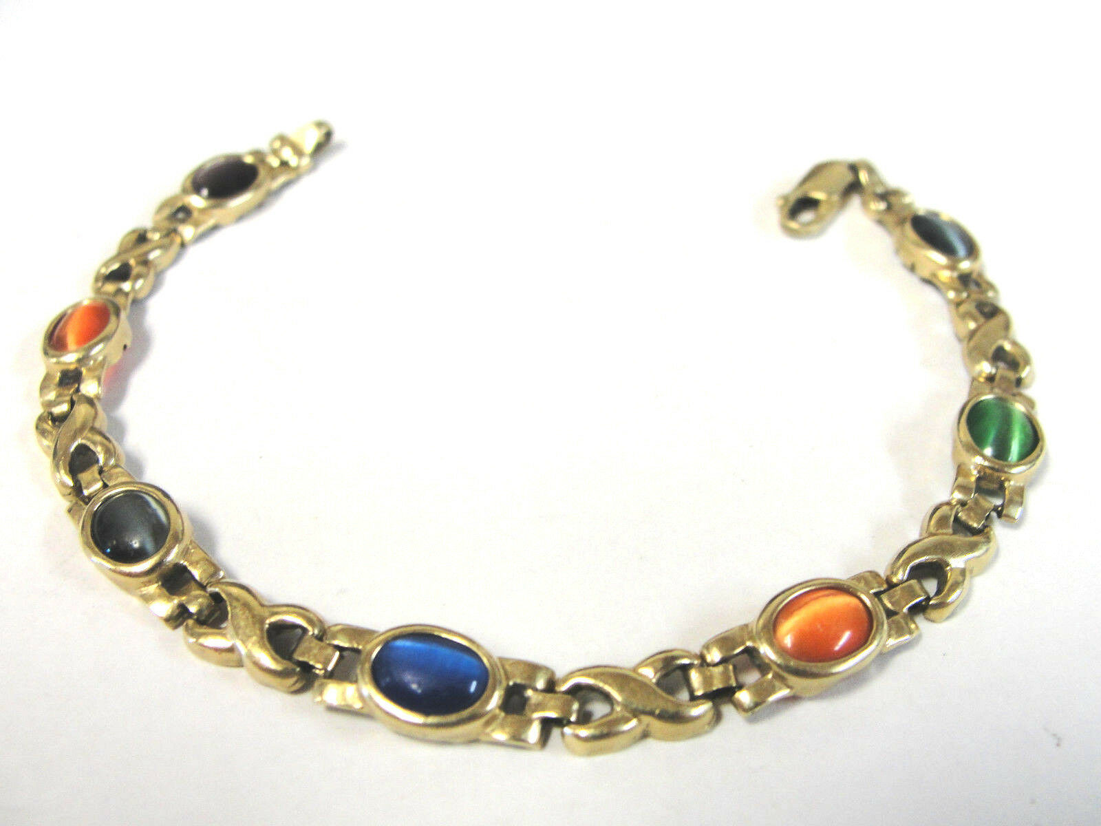 Primary image for 14K Gold 6.75mm Tennis Style Cats Eye Multi Color X's and O's Bracelet 7.5""