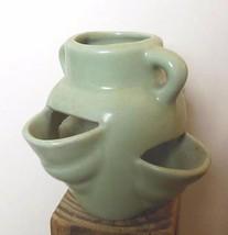 "4 Pocket Strawberry Jar 5"" Celadon Green Pottery Vintage - $39.40"
