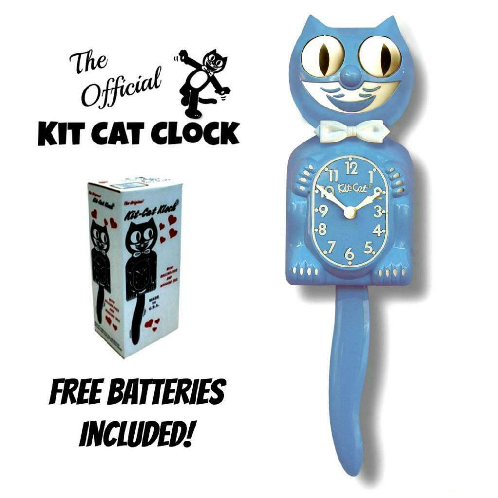 "SERENITY BLUE Kit Cat CLOCK 15.5"" Free Battery MADE IN USA Kit-Cat Klock - £51.12 GBP"