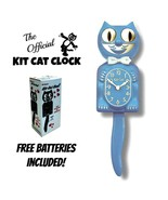 "SERENITY BLUE Kit Cat CLOCK 15.5"" Free Battery MADE IN USA Kit-Cat Klock - $62.83"