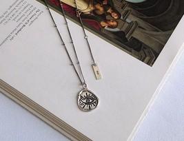 925 Sterling Silver Irregular Devil's Eye Necklace Original Western Style Pendan - $28.92