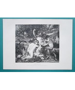 NUDE Family of Satyrs Forest Meal Music - VICTORIAN Era Print - $16.20