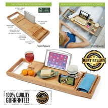 Expandable Bamboo Bathtub Caddy Adjustable Wooden Serving Tray Organizer... - $35.85