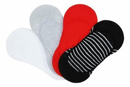 HUE 4-Pack Corte Bajo Mujer Forro Calcetines Negros Rayas Rojo Blanco Gris Osfm