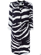 new Diane von Furstenberg FREYA Stretch Silk Shirt Dress in ZEBRA SIMPLE... - $145.00