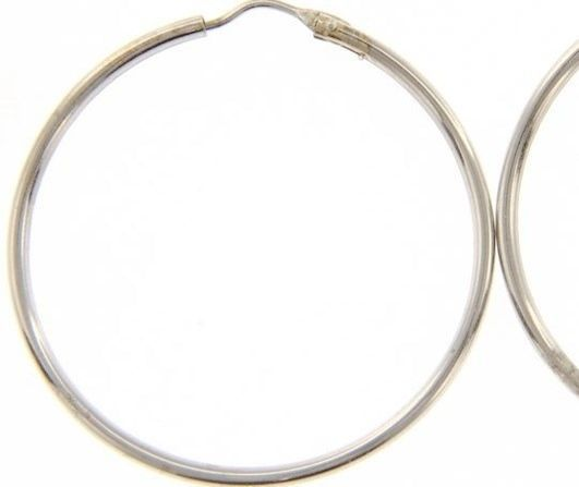 18K WHITE GOLD ROUND CIRCLE EARRINGS DIAMETER 30 MM WIDTH 1.7 MM, MADE IN ITALY