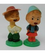 Vintage Pair of Bobble Heads Nodder Kiss Me Dutch European Plastic HTF - $29.21