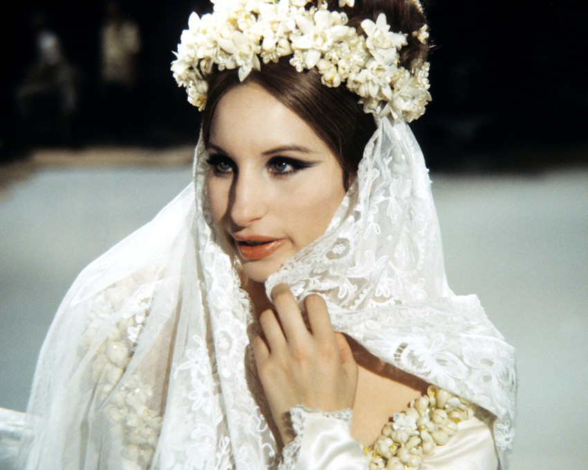 Primary image for Barbra Streisand 16x20 Canvas With White Flowers in Hair Holding White Veil