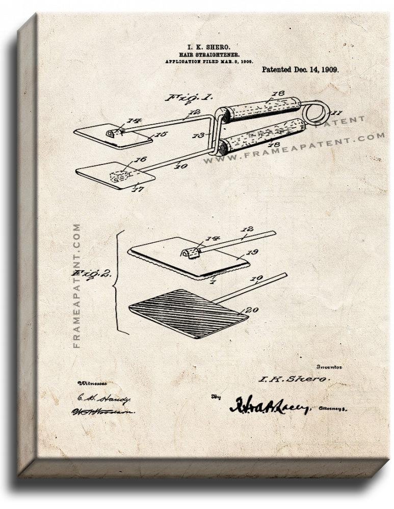 Primary image for Hair-straightener Patent Print Old Look on Canvas
