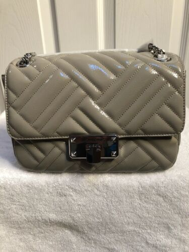 Primary image for Michael Kors PEYTON Quilted Patent Leather Shoulder Flap Bag Pearl Grey  Medium